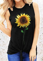 Summer Outfits Sunflower Hollow Out Tie Tank