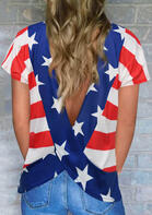 Summer Outfits American Flag Star Striped Open Back Twist Blouse