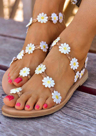 Summer Daisy Slip On Flat Sandals - Apricot