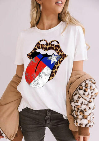 American Independence Day Flag Star Leopard Lips T-Shirt Tee - White