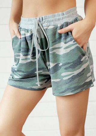 Camouflage Drawstring Casual Shorts