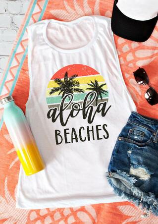 Aloha Beaches Casual Tank - White