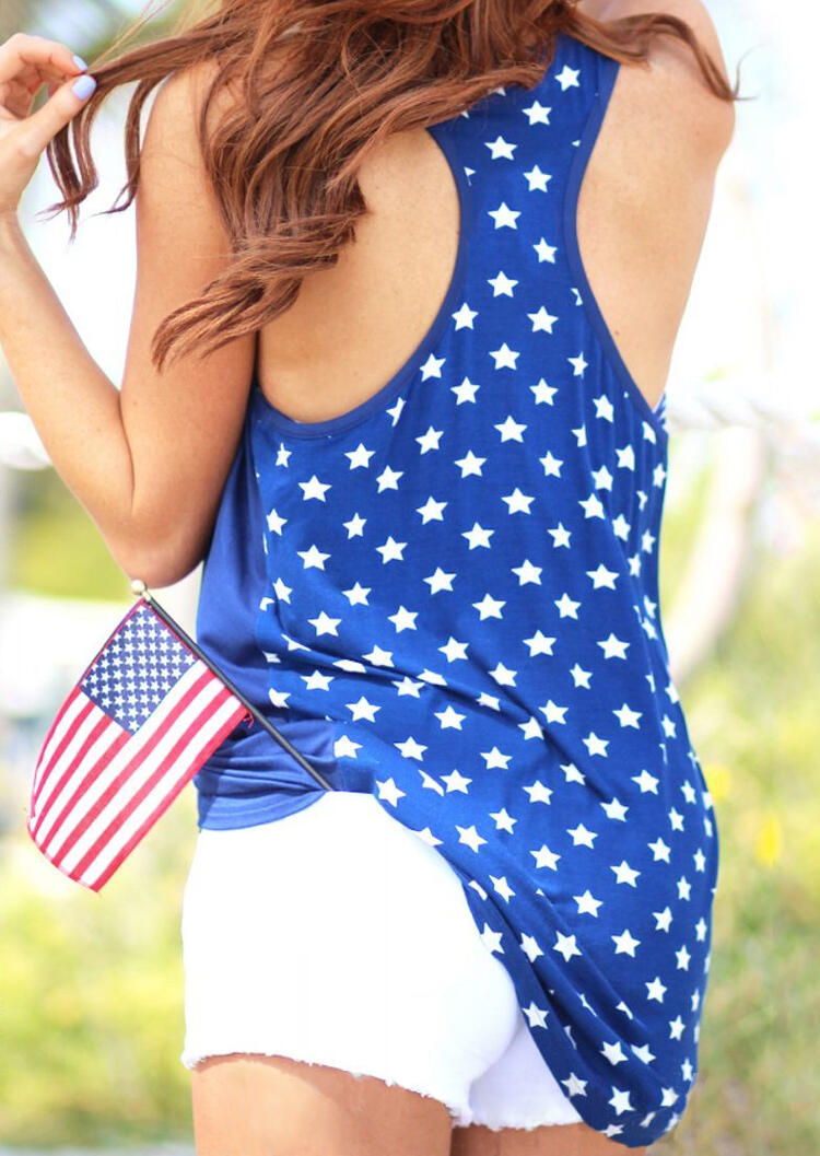 American Flag Star Pocket Tank - Royal Blue фото