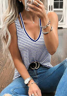 Summer Outfits Striped V-Neck Tank