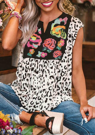 Cow Printed Flower Splicing V-Neck Blouse - White