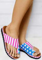 Summer American Flag Slip On Flat Slippers