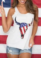 Steer Skull American Flag Star Tank
