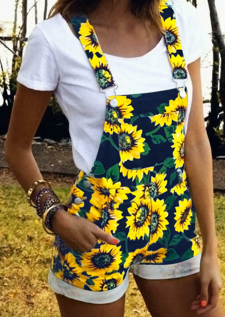 Sunflower Pocket Overalls Romper - Yellow