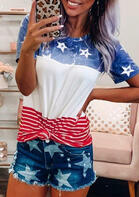 American Flag Color Block T-Shirt Tee