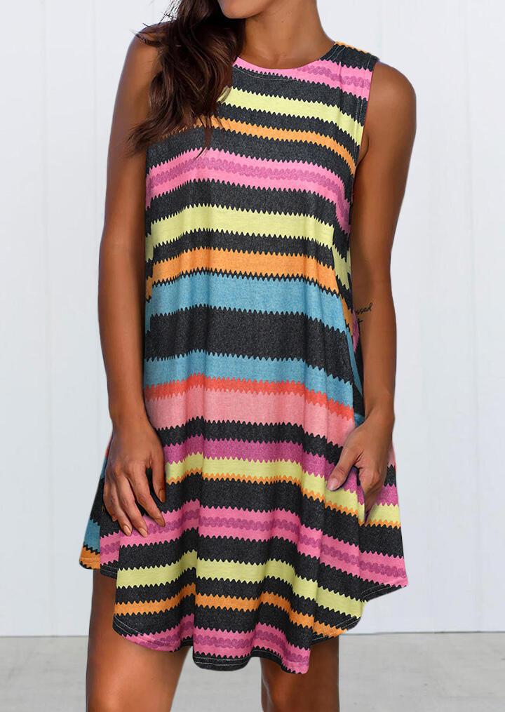 Mini Dresses Colorful Striped Splicing Asymmetric Sleeveless Mini Dress. Size: L фото