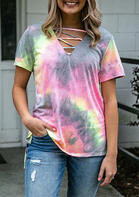 Summer Outfits Tie Dye Criss-Cross Open Back V-Neck Blouse