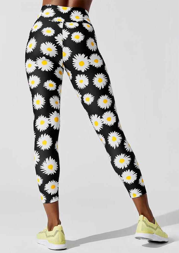 Daisy Yoga Fitness Activewear Leggings - Black