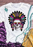 Summer Outfits Feather Skull O-Neck T-Shirt Tee