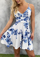 Floral Splicing Lace V-Neck Mini Dress without Necklace - Blue