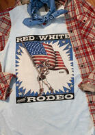 Red White And Rodeo American Flag Star Tank