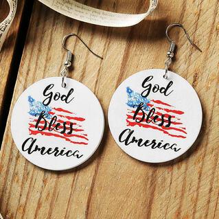 American Flag God Bless America Earrings - White