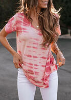 Summer Outfits Tie Dye V-Neck Blouse