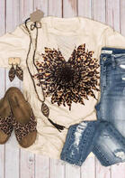 Summer Outfits Leopard Sunflower Criss-Cross Hollow Out T-Shirt