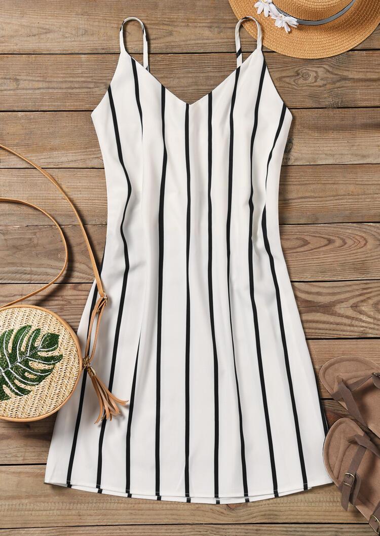Striped Spaghetti Strap Mini Dress - White