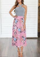 Floral Splicing Halter Tie Casual Dress