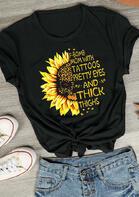 Leopard Sunflower F-Bomb Mom With Tattoos T-Shirt Tee - Black
