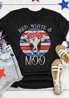 Red White Moo Cattle T-Shirt Tee