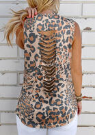 Summer Outfits Leopard Hollow Out Casual Tank