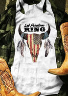 Let Freedom Ring American Flag Steer Skull Tank