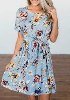 Floral Tie O-Neck Mini Dress