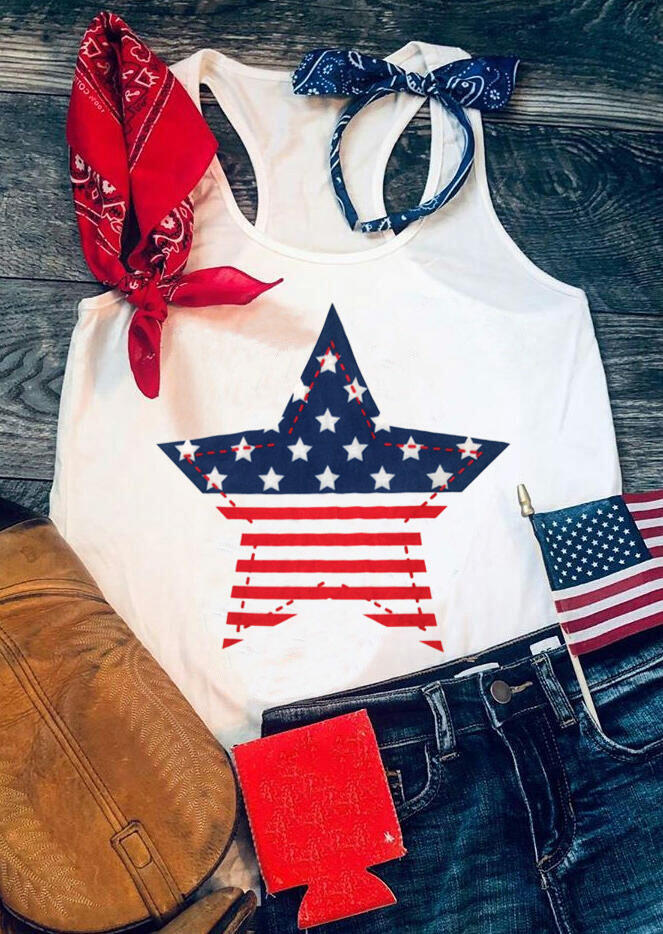 American Flag Star Striped Tank - White фото
