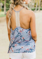 Summer Outfits Floral Lace Splicing Open Back Camisole