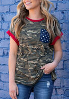 Camouflage American Flag Star Pocket T-Shirt Tee