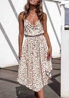 Leopard Ruffled Spaghetti Strap Casual Dress