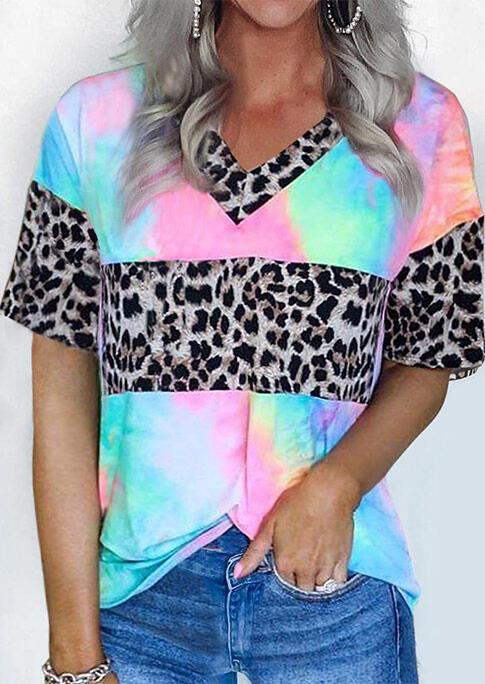 Presale - Tie Dye Leopard Splicing T-Shirt Tee, Multicolor, 471637