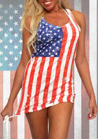 Summer Outfits American Flag Tie O-Neck Mini Dress