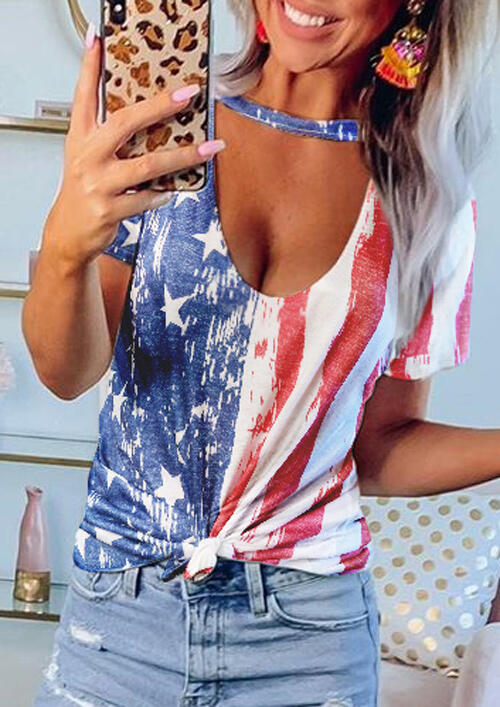 Blouses American Flag Star Hollow Out Blouse in Multicolor. Size: S,M,L,XL,2XL,3XL фото