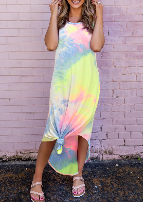 Casual Dresses Tie Dye Irregular Sleeveless Casual Dress. Size: S,M,L,XL фото