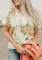 Summer Outfits Floral O-Neck T-Shirt Tee