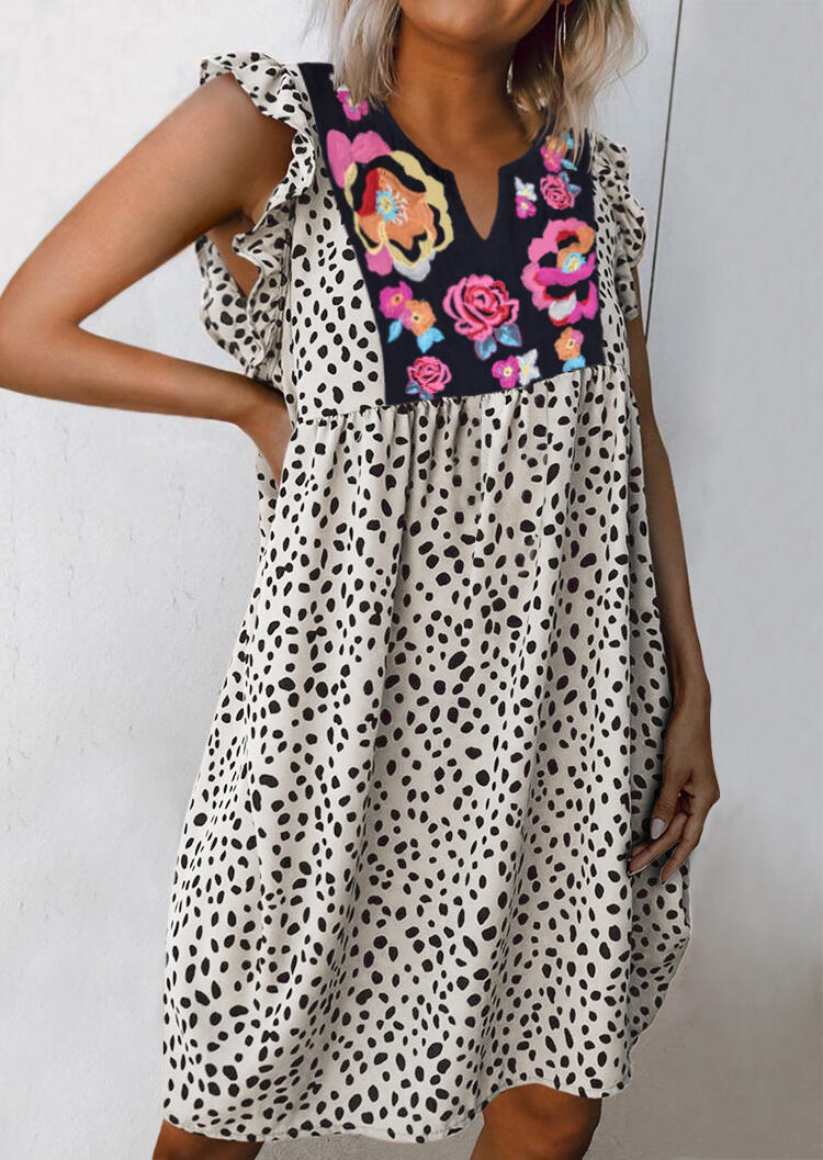 Cow Printed Splicing Floral Ruffled Casual Dress фото