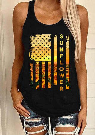 Sunflower American Flag Tank - Black