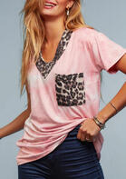 Summer Outfits Tie Dye Leopard Splicing Pocket T-Shirt Tee