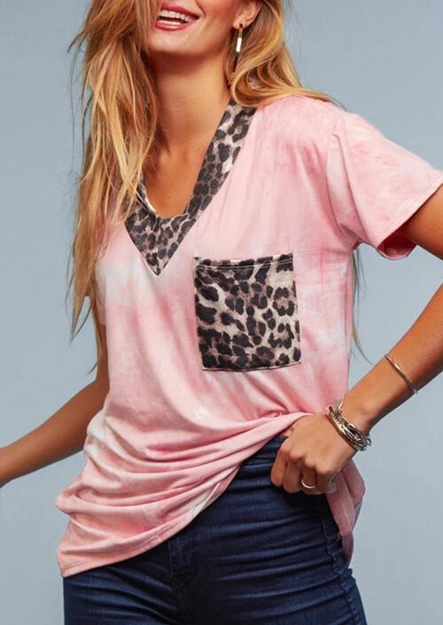 Tees T-shirts Tie Dye Leopard Splicing Pocket T-Shirt Tee - Pink. Size: XL фото