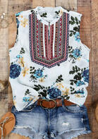 Summer Outfits Floral Geometric O-Neck Tank