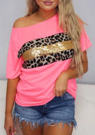 Leopard Sequined Splicing T-Shirt Tee