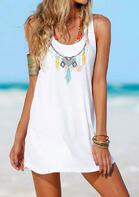 Summer Outfits Geometric Tassel O-Neck Mini Dress