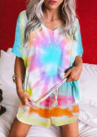 Summer Outfits Tie Dye Drawstring Shorts and V-Neck Blouse Set