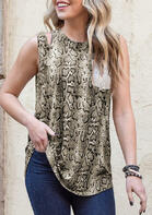 Snake Skin Sequined Splicing Pocket Hollow Out Tank