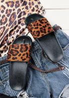Leopard Printed Slip On Flat Sandals