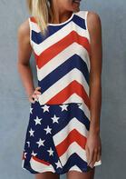American Flag Star Sleeveless Mini Dress