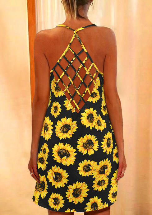 Sunflower Criss-Cross Mini Dress without Necklace - Black фото